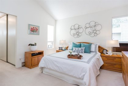 Master Bedroom with vaulted ceilings at 7427 Echo Place, Champlain Heights, Vancouver East