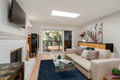 Bright Living Room with Skylights at 1497 Harold Road, Lynn Valley, North Vancouver