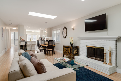 Living Room with view to Dining Room & Kitchen at 1497 Harold Road, Lynn Valley, North Vancouver