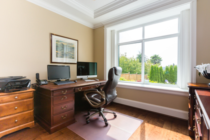 Office with View to Backyard | Edgemont Family Home | North Vancouver at 4565 Ranger Avenue, Canyon Heights NV, North Vancouver