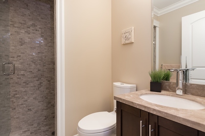 Guest Bathroom | Edgemont Family Home | North Vancouver at 4565 Ranger Avenue, Canyon Heights NV, North Vancouver