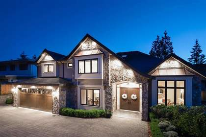 Exterior Front | Edgemont Family Home | Twilight at 4565 Ranger Avenue, Canyon Heights NV, North Vancouver