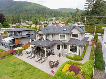 Backyard | Edgemont Family Home | Drone at 4565 Ranger Avenue, Canyon Heights NV, North Vancouver
