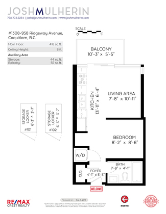 floor-plan-branded at 1308 - 958 Ridgeway Avenue, Central Coquitlam, Coquitlam