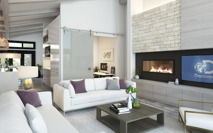 Custom millwork in the Living Room with gas fireplace at 105 - 2030 Pebble Drive, Bear Mountain, Langford
