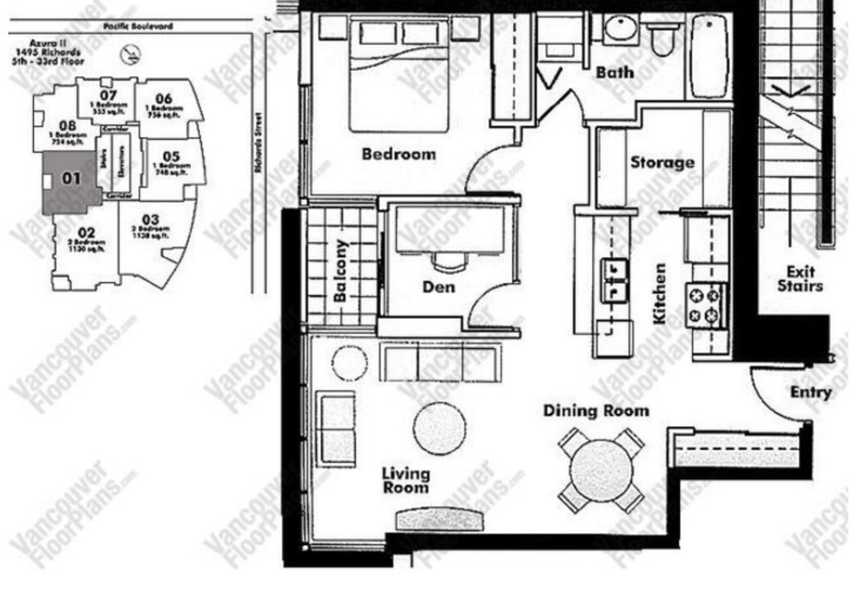 floorplan at 2001 - 1495 Richards, Yaletown, Vancouver West