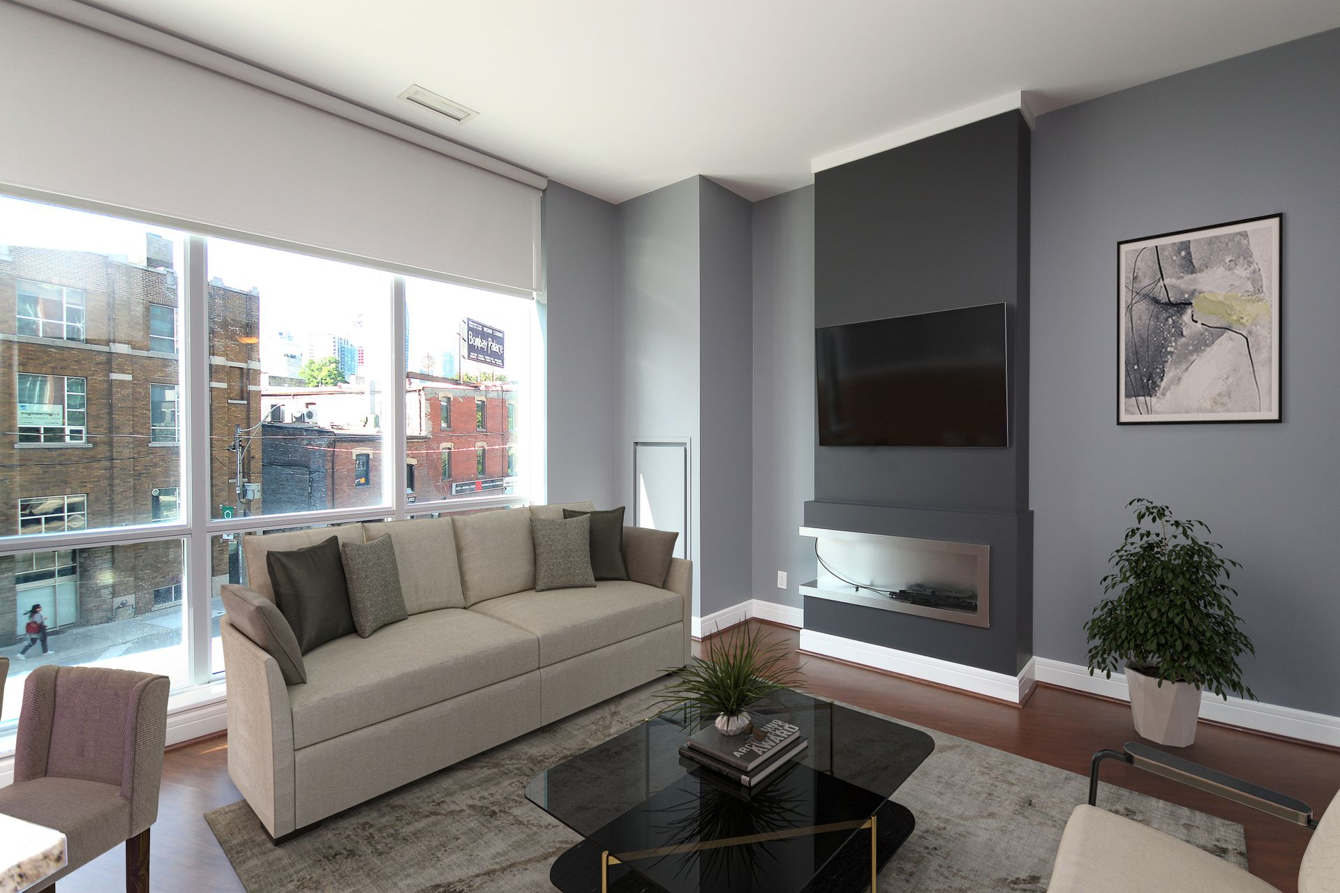 Virtually Staged Living Room at S209 - 112 George Street, Moss Park, Toronto