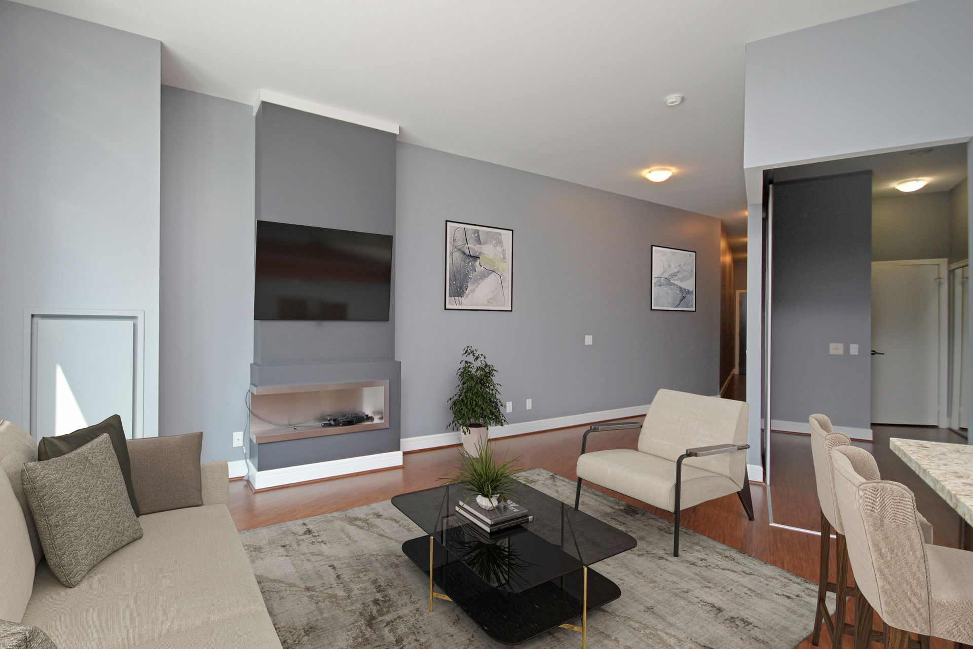 1Virtually Staged Living Room at S209 - 112 George Street, Moss Park, Toronto