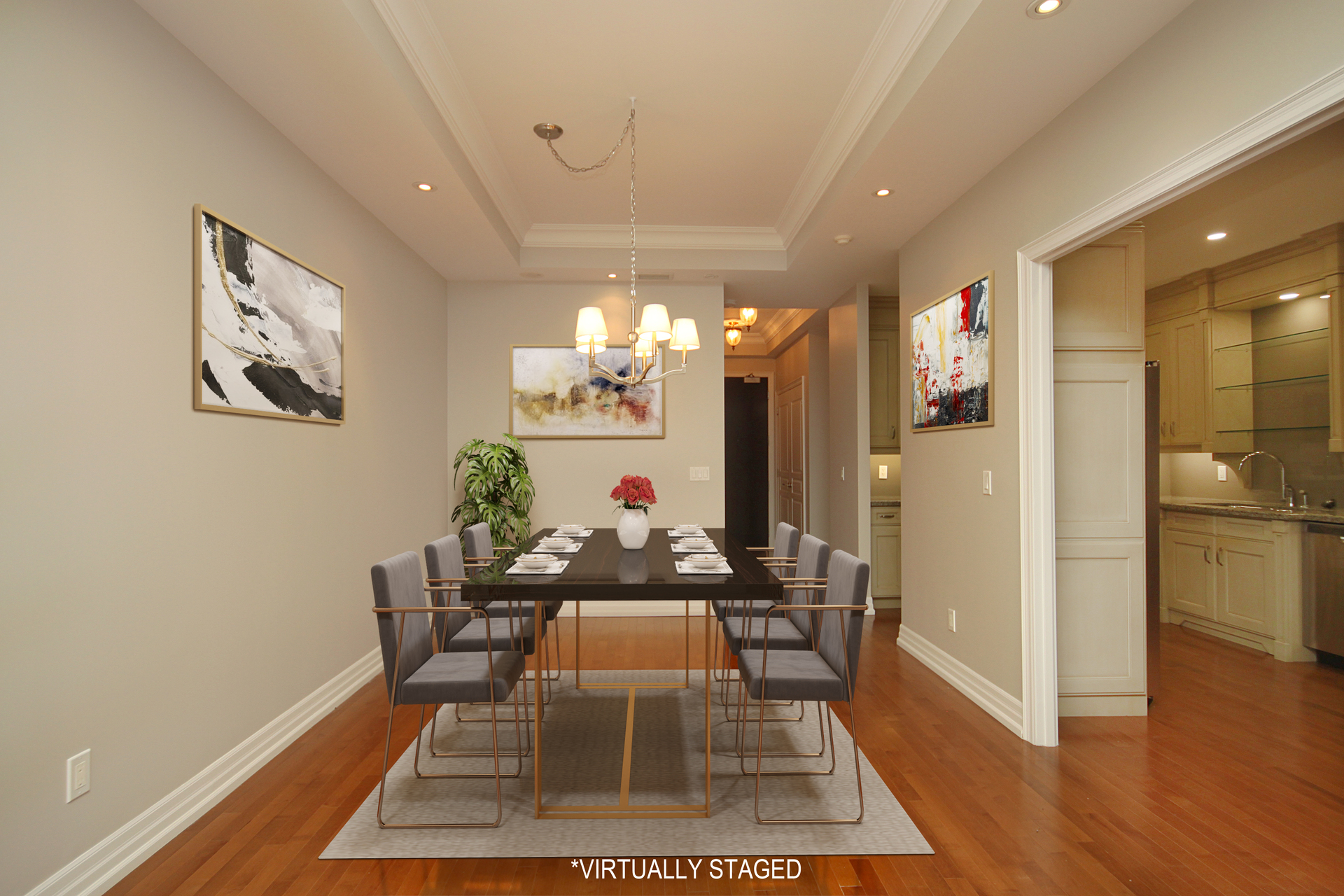 Dining Room Virtually Staged at 302 - 20 Burkebrook Place, Bridle Path-Sunnybrook-York Mills, Toronto