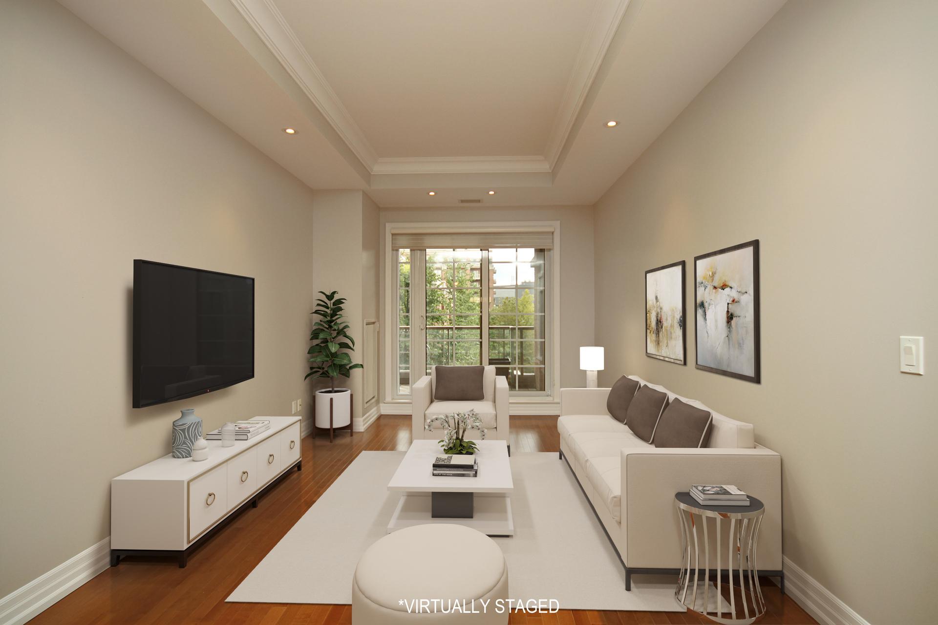 Living Room Virtually Staged at 302 - 20 Burkebrook Place, Bridle Path-Sunnybrook-York Mills, Toronto
