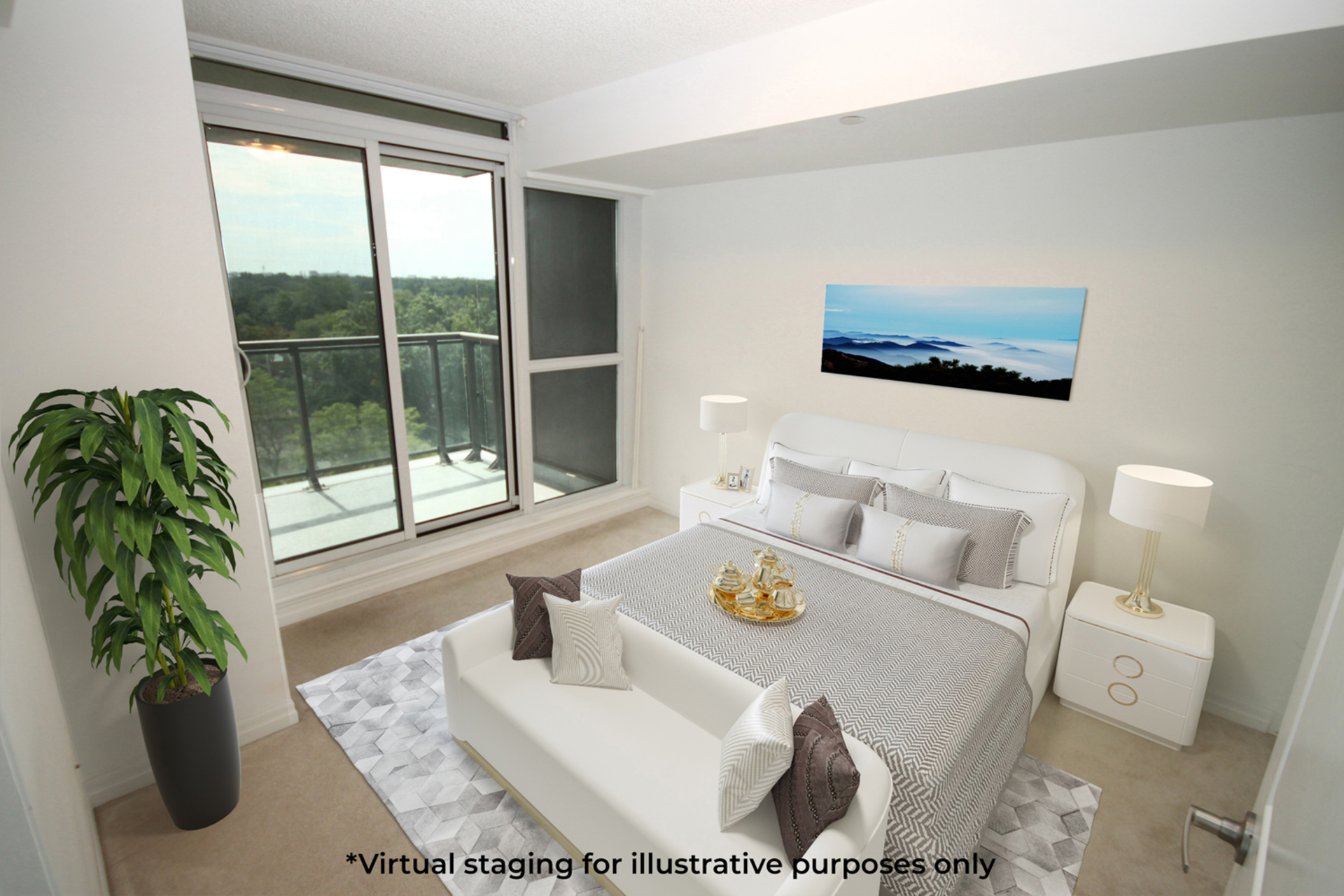 Master Bedroom Virtual Staging at 817 - 80 Esther  Lorrie Drive, West Humber-Clairville, Toronto