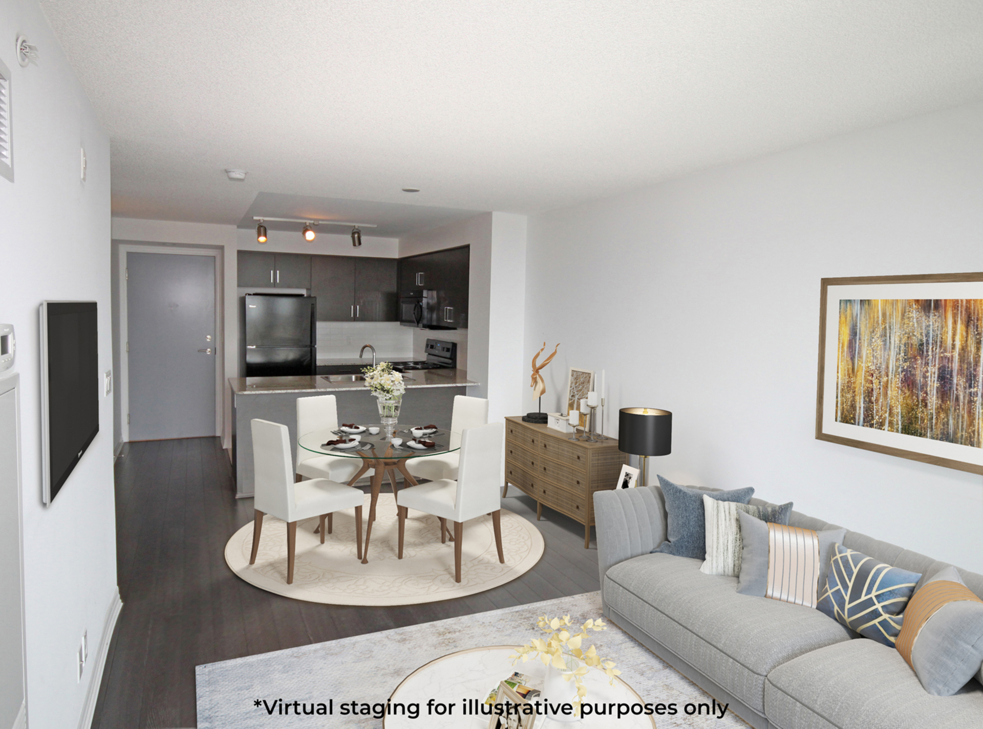 Living Room Virtual Staging at 817 - 80 Esther  Lorrie Drive, West Humber-Clairville, Toronto