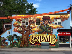 Leslieville Mural at 21 Berkshire Avenue, South Riverdale, Toronto