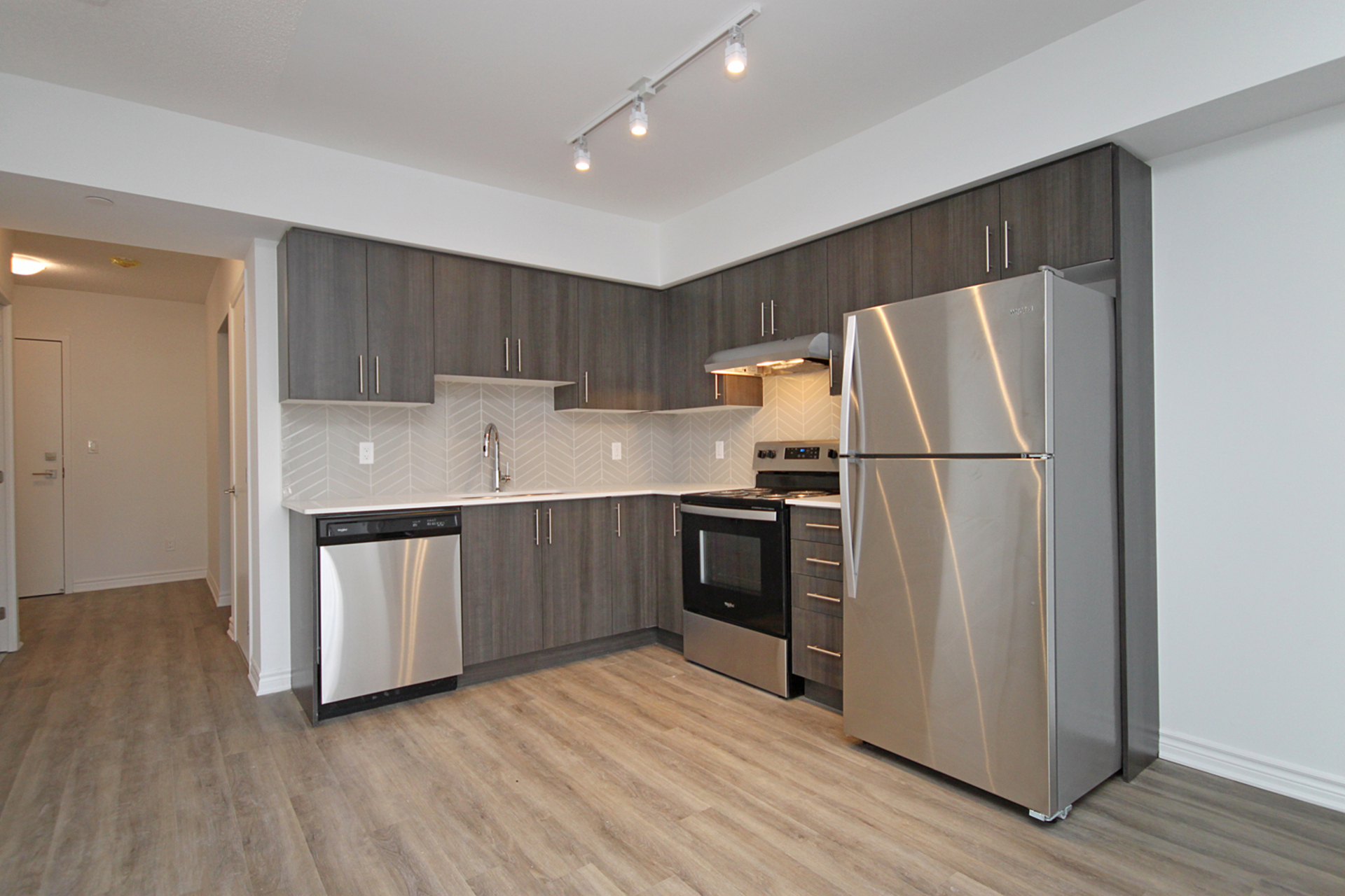 Kitchen at 212 - 1 Falaise Road, West Hill, Toronto