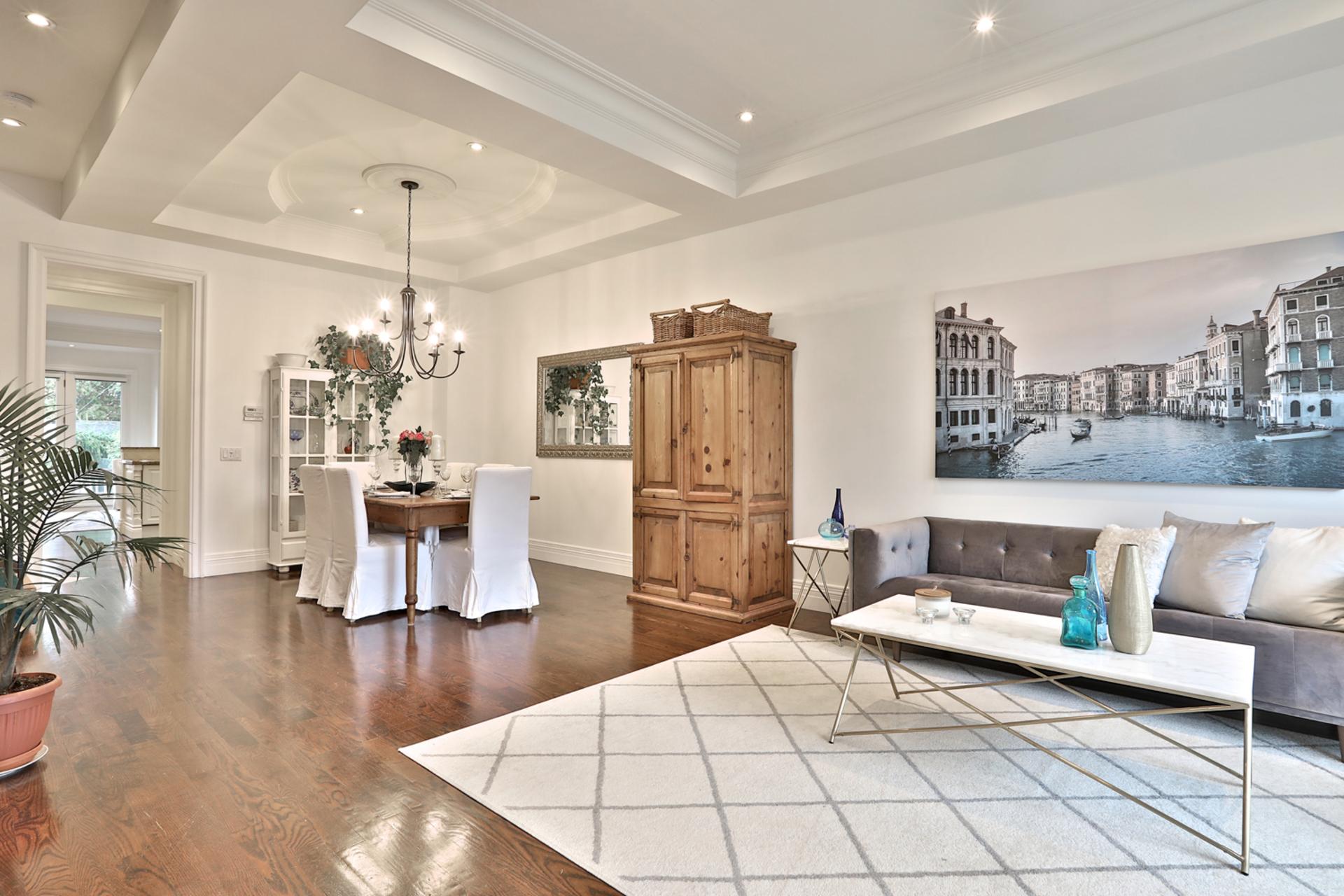 Living Room & Dining Room at 75 Jedburgh Road, Lawrence Park North, Toronto