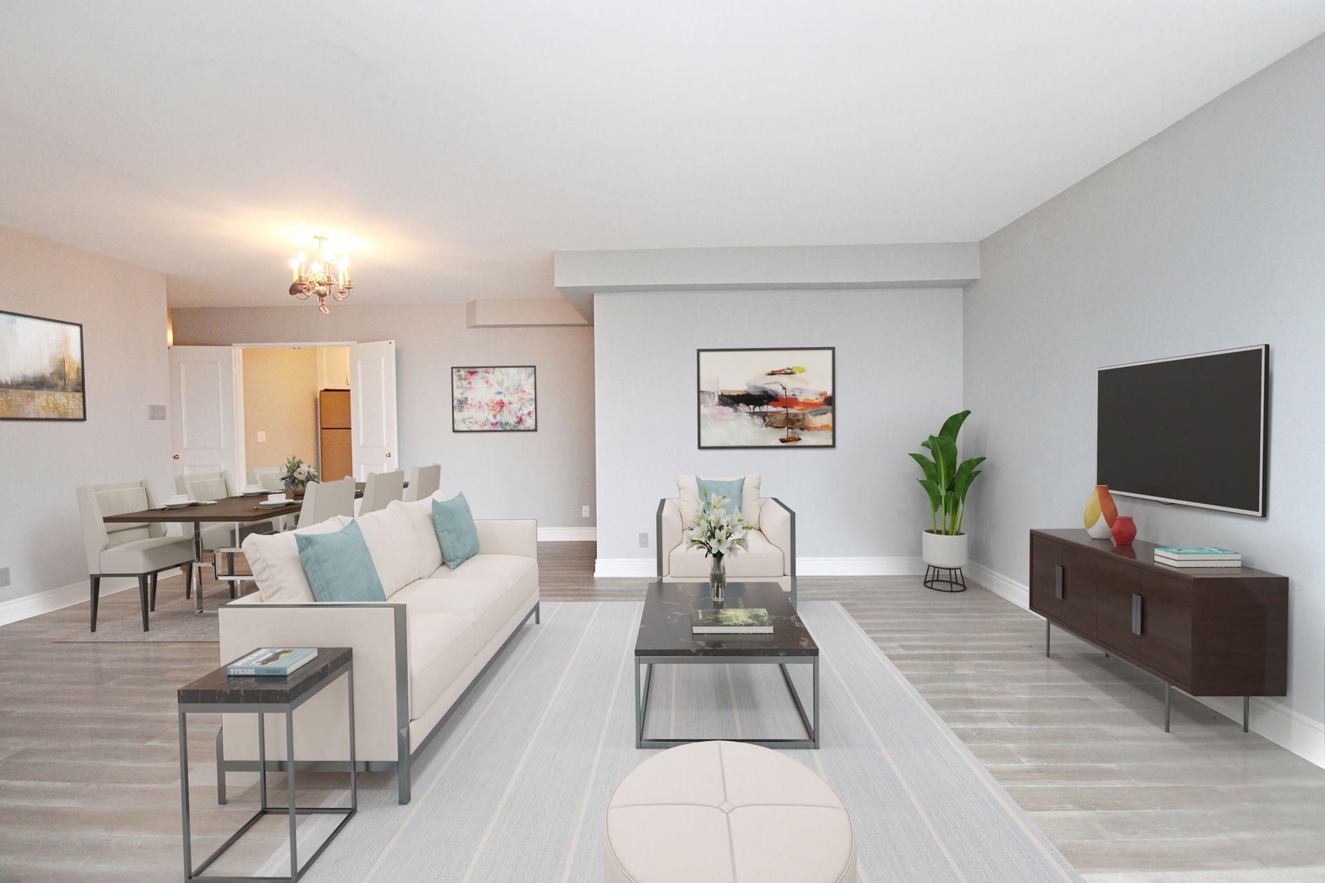 Living & Dining Room at 1002 - 205 Wynford Drive, Banbury-Don Mills, Toronto