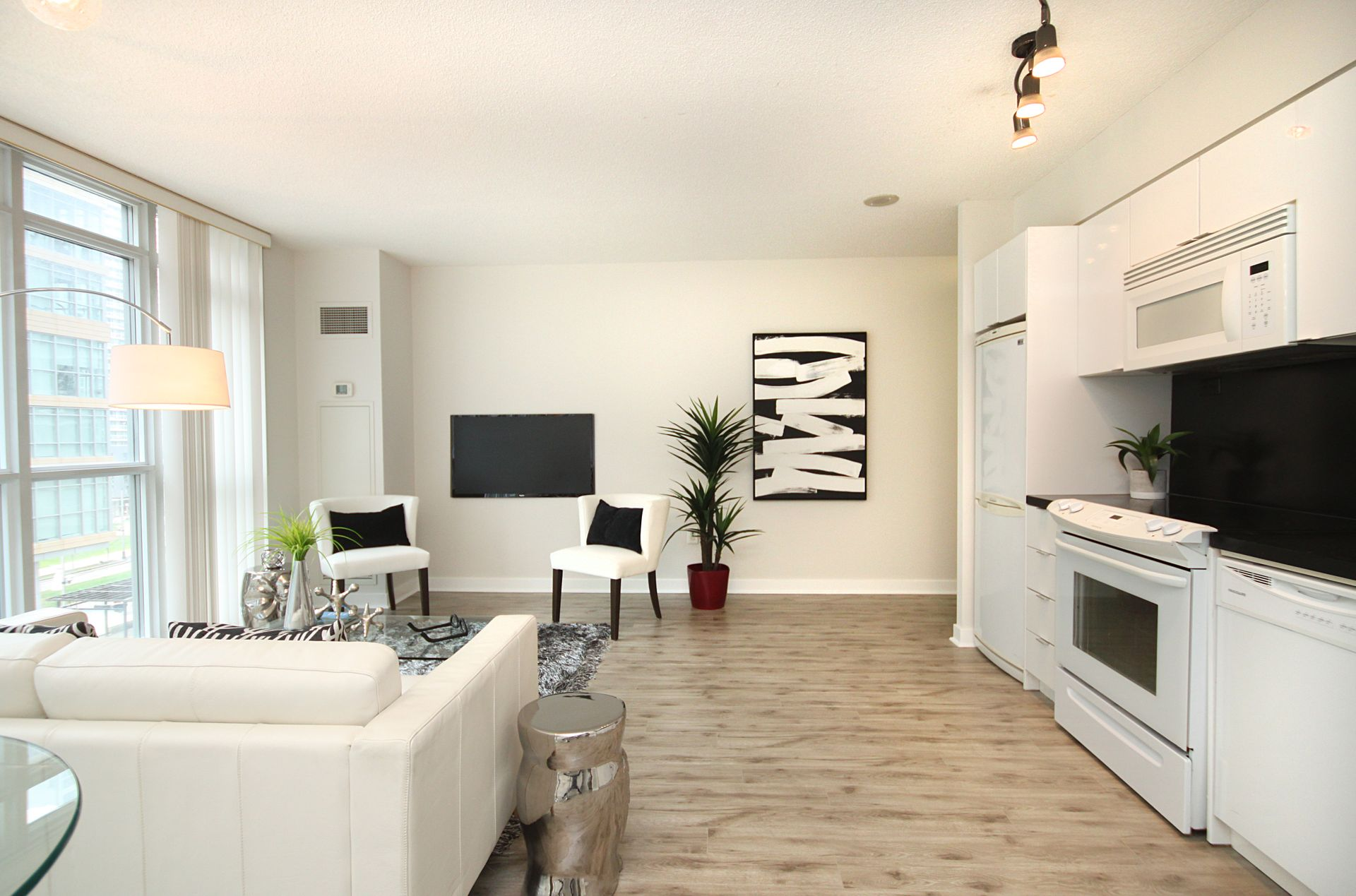 Living Room & Kitchen at 632 - 15 Iceboat Terrace, Waterfront Communities C1, Toronto