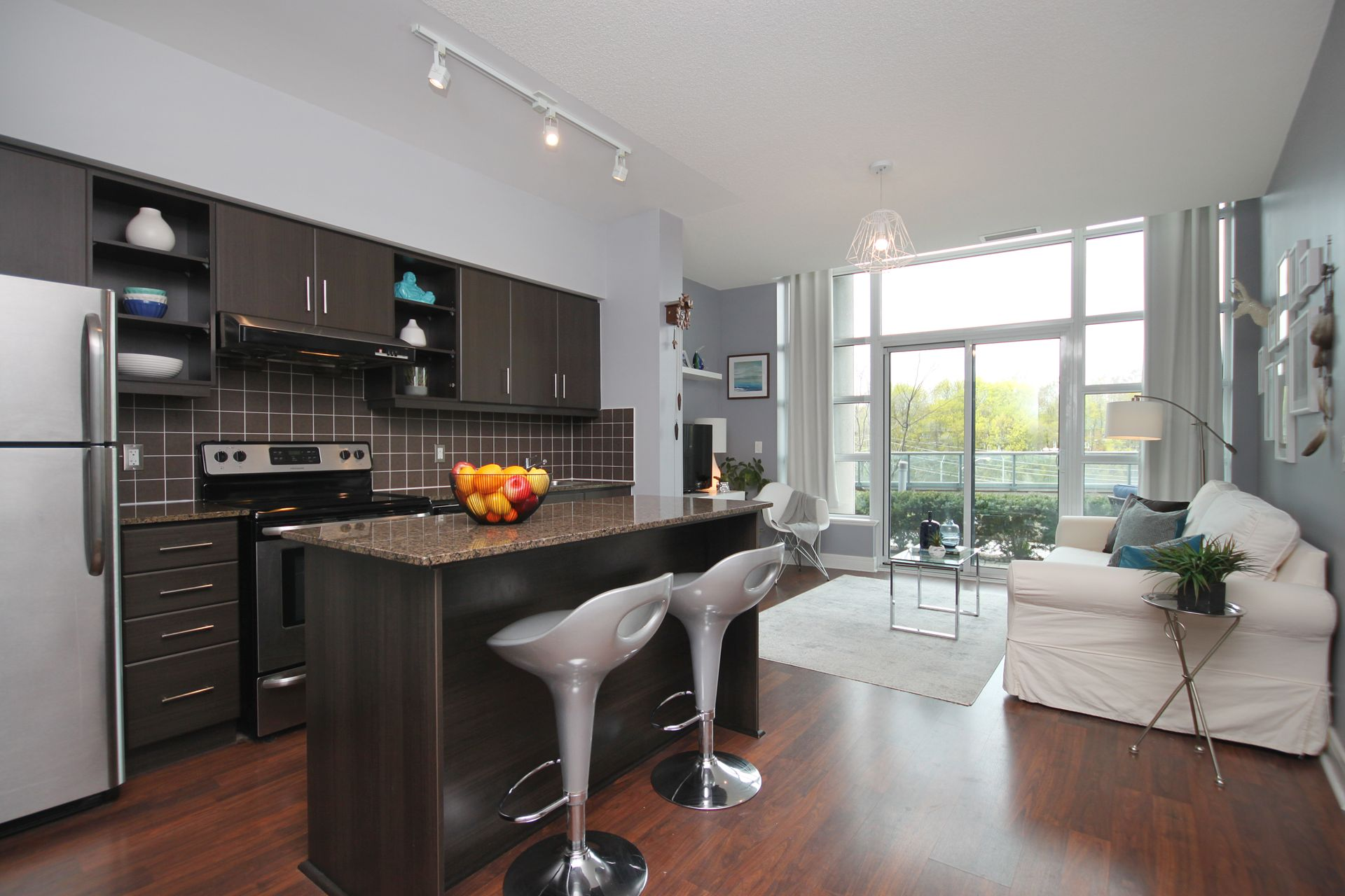 Kitchen & Living Room at 124 - 35 Brian Peck Crescent, Leaside, Toronto