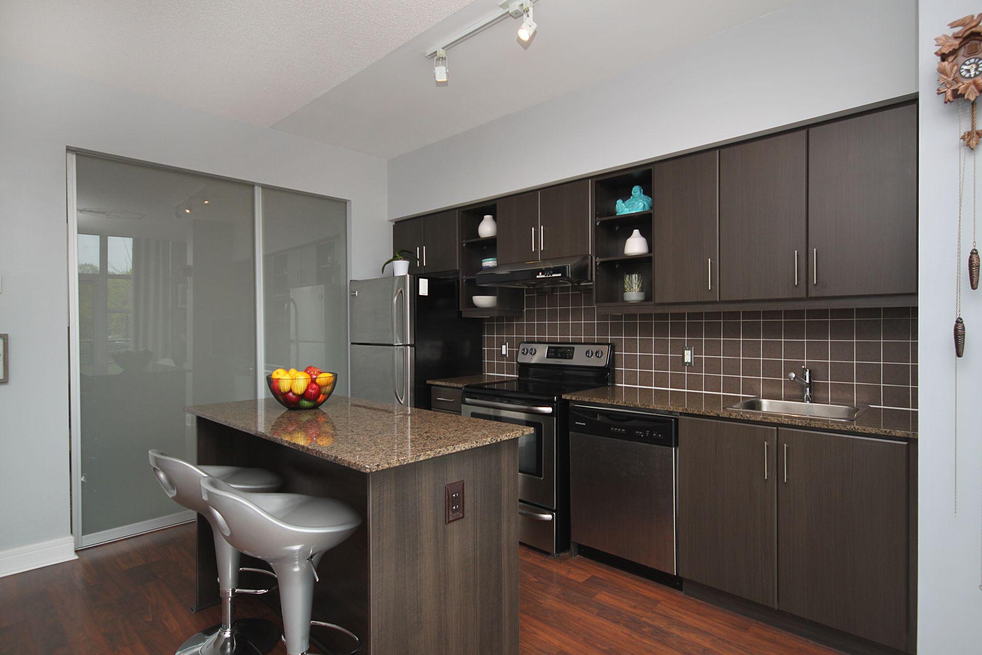Kitchen at 124 - 35 Brian Peck Crescent, Leaside, Toronto