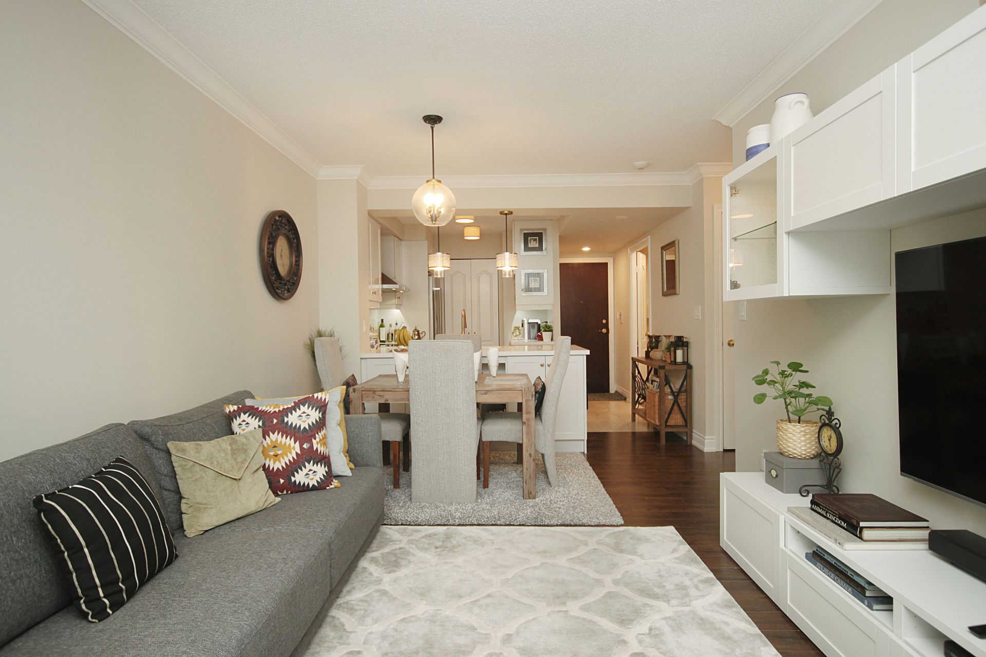 Living & Dining Room at 310 - 28 William Carson Crescent, St. Andrew-Windfields, Toronto