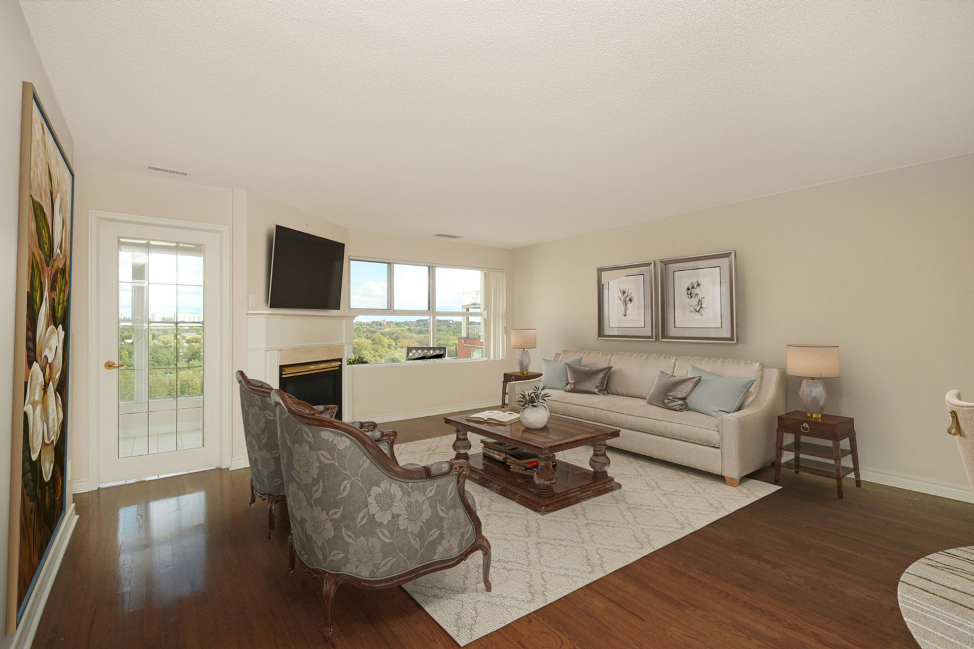 Living Room with Virtual Staging at 810 - 18 Concorde Place, Banbury-Don Mills, Toronto