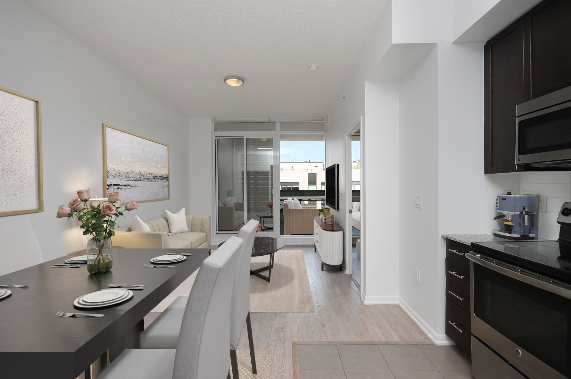 Kitchen & Living Room Virtually Staged at 814 - 830 Lawrence Avenue W, Yorkdale-Glen Park, Toronto