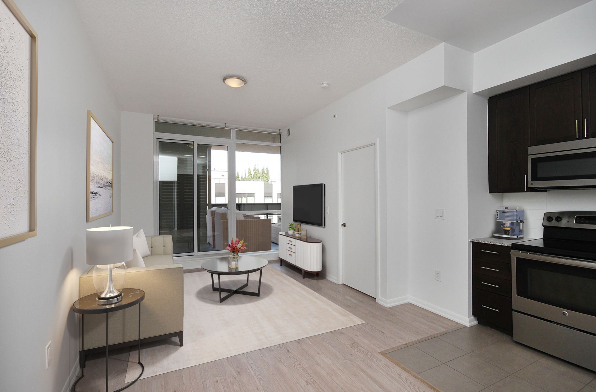 Living Room Virtually Staged at 814 - 830 Lawrence Avenue W, Yorkdale-Glen Park, Toronto