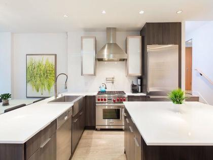 kitchen with new stainless appliances at 491 Broughton, Coal Harbour, Vancouver West