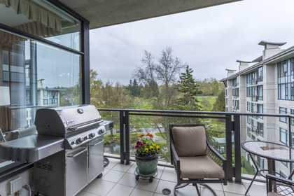 Eastern balcony overlooks Quilchena Park and the Mountains at 708 - 4685 Valley Drive, Quilchena, Vancouver West