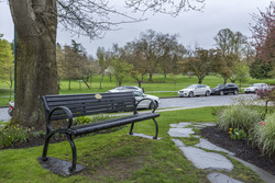 Sit on a specially donated bench overlooking the tranquil gardens at the entrance to Marguerite House at 708 - 4685 Valley Drive, Quilchena, Vancouver West