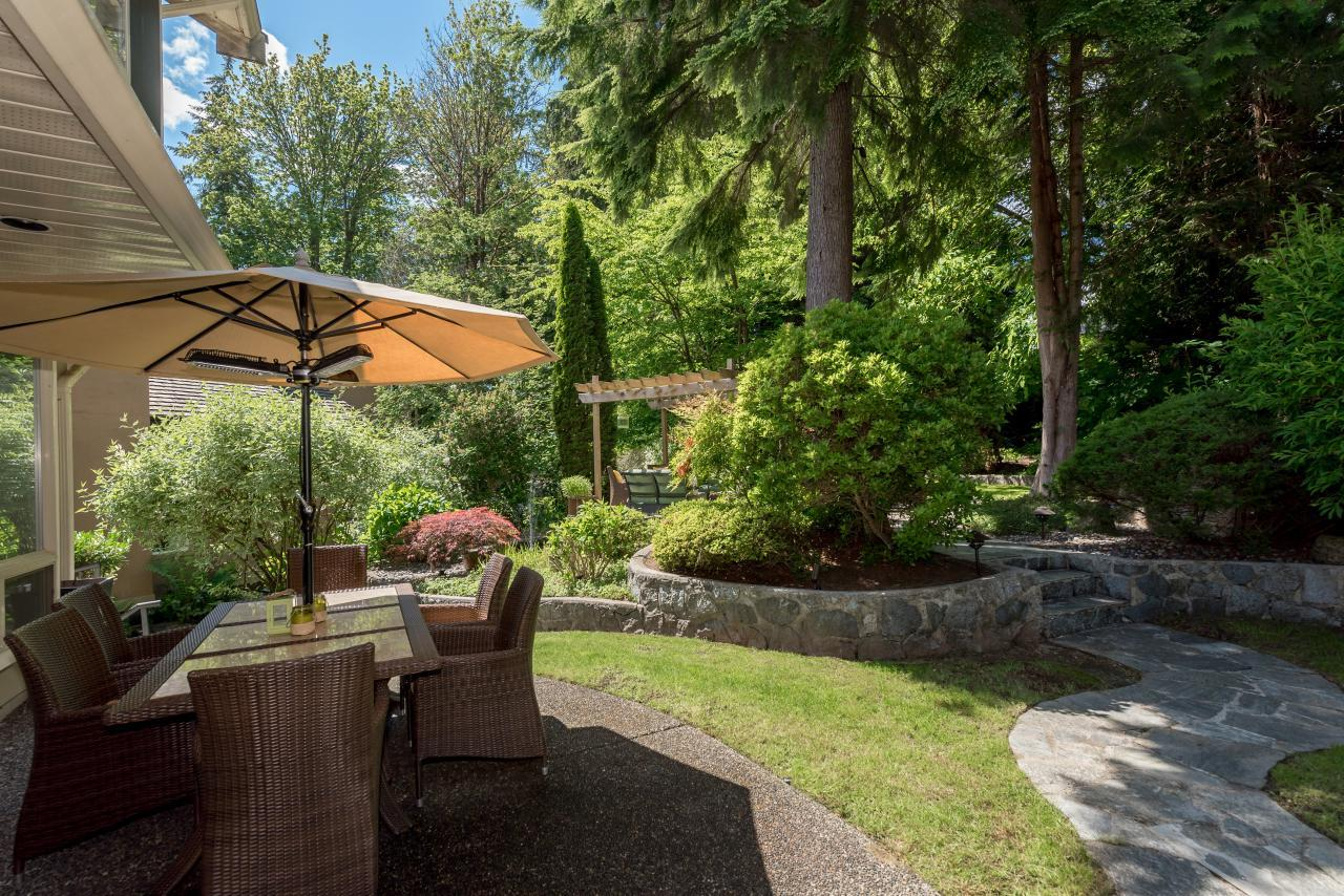 Rear Patio at 3303 Huntleigh Court, Windsor Park NV, North Vancouver