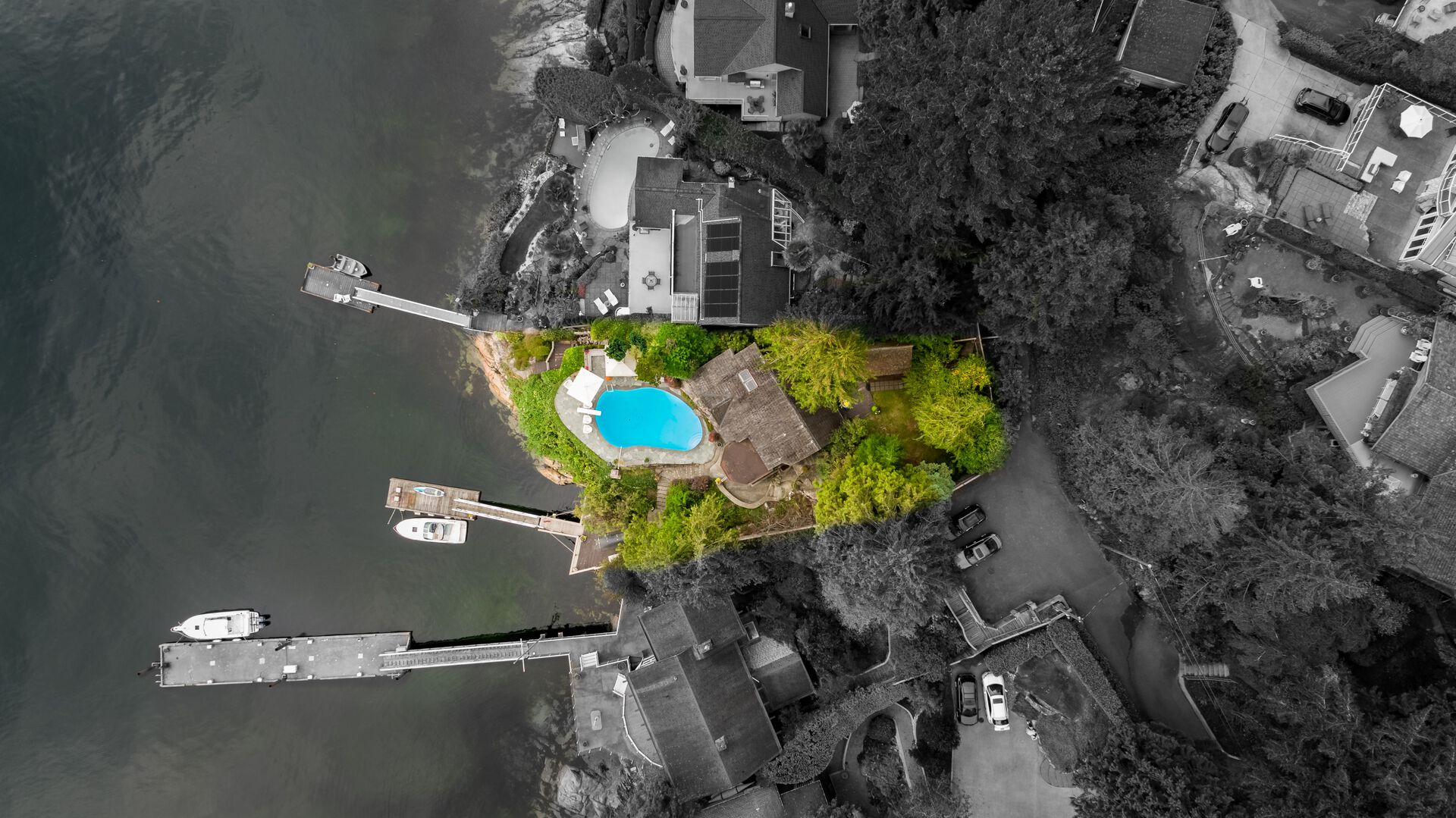 overhead at 4541 Stonehaven Avenue, Deep Cove, North Vancouver