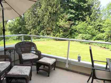 exterior-sundeck-patio-balcony-view-private-treed at 112 - 4001 Old Clayburn Road, Abbotsford East, Abbotsford