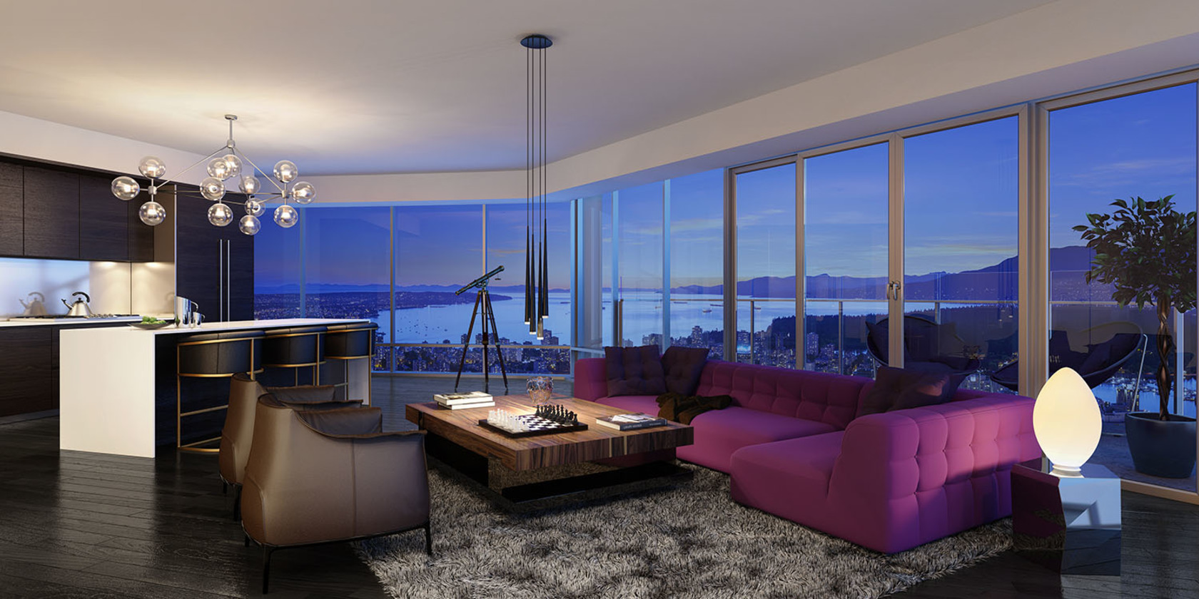Living Area at  Trump International Hotel And Tower, Downtown VW, Vancouver West