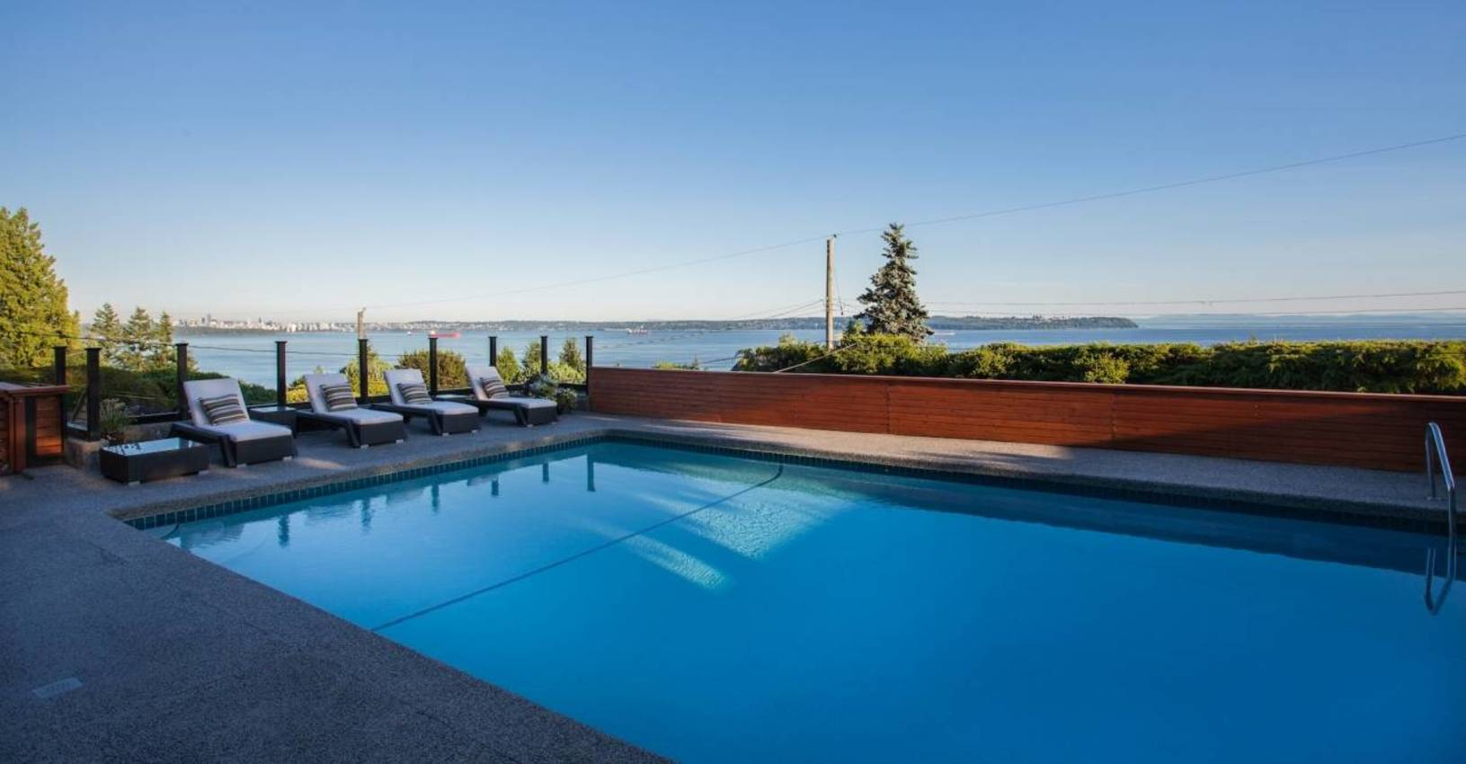 Huge Pool Overlooking View at 4125 Burkehill Place, Bayridge, West Vancouver