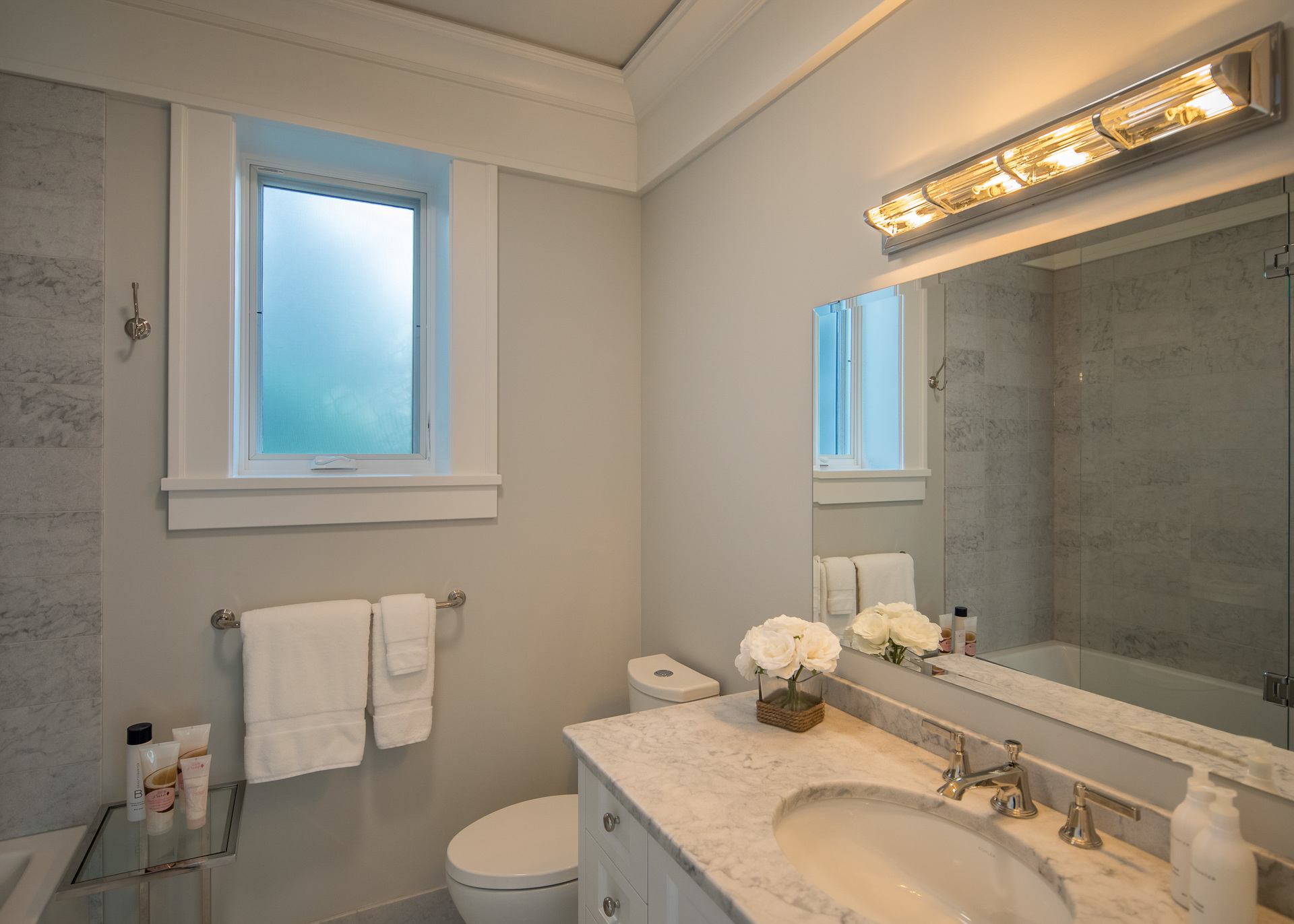 Guest House Bathroom at 518 Lands End Road, Lands End, North Saanich