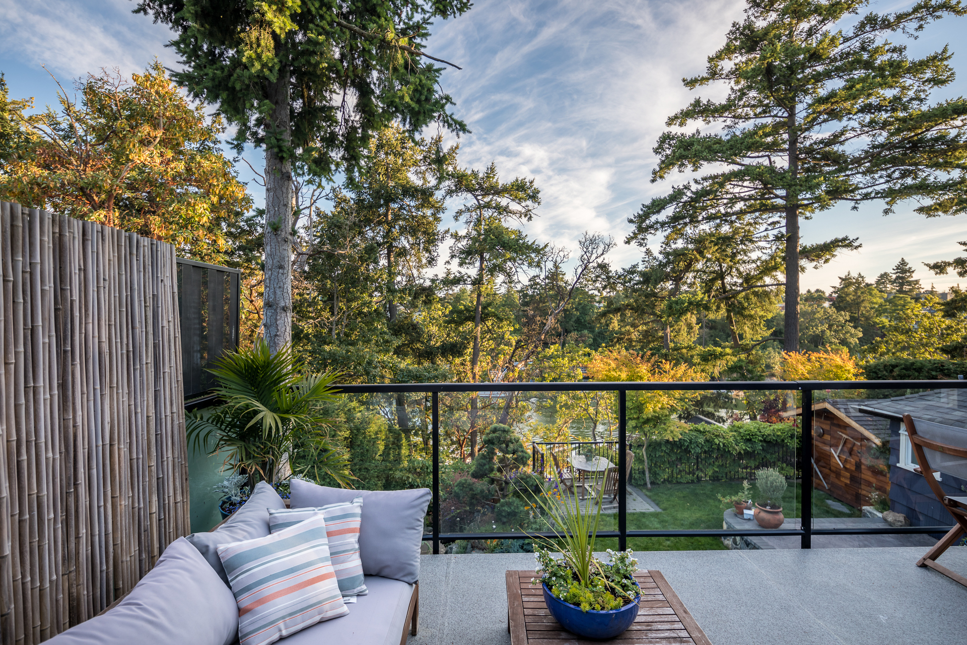 View of the backyard patio from the upper level wraparound deck at 17 Lotus Street, Burnside, Victoria