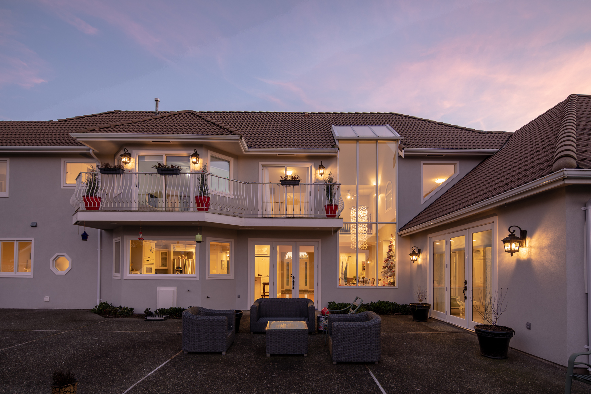 Expansive Rear Patio at 1950 Highfield Road, Keating, Central Saanich