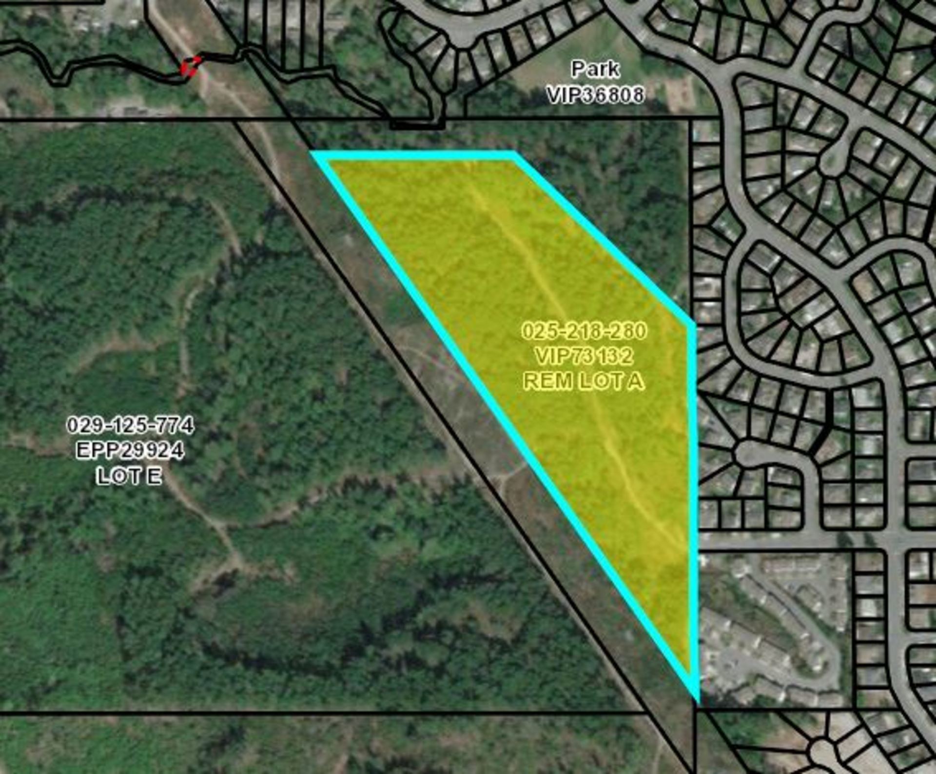 Aerial Highlighted at Lot A Malone Road, Ladysmith, Vancouver Island