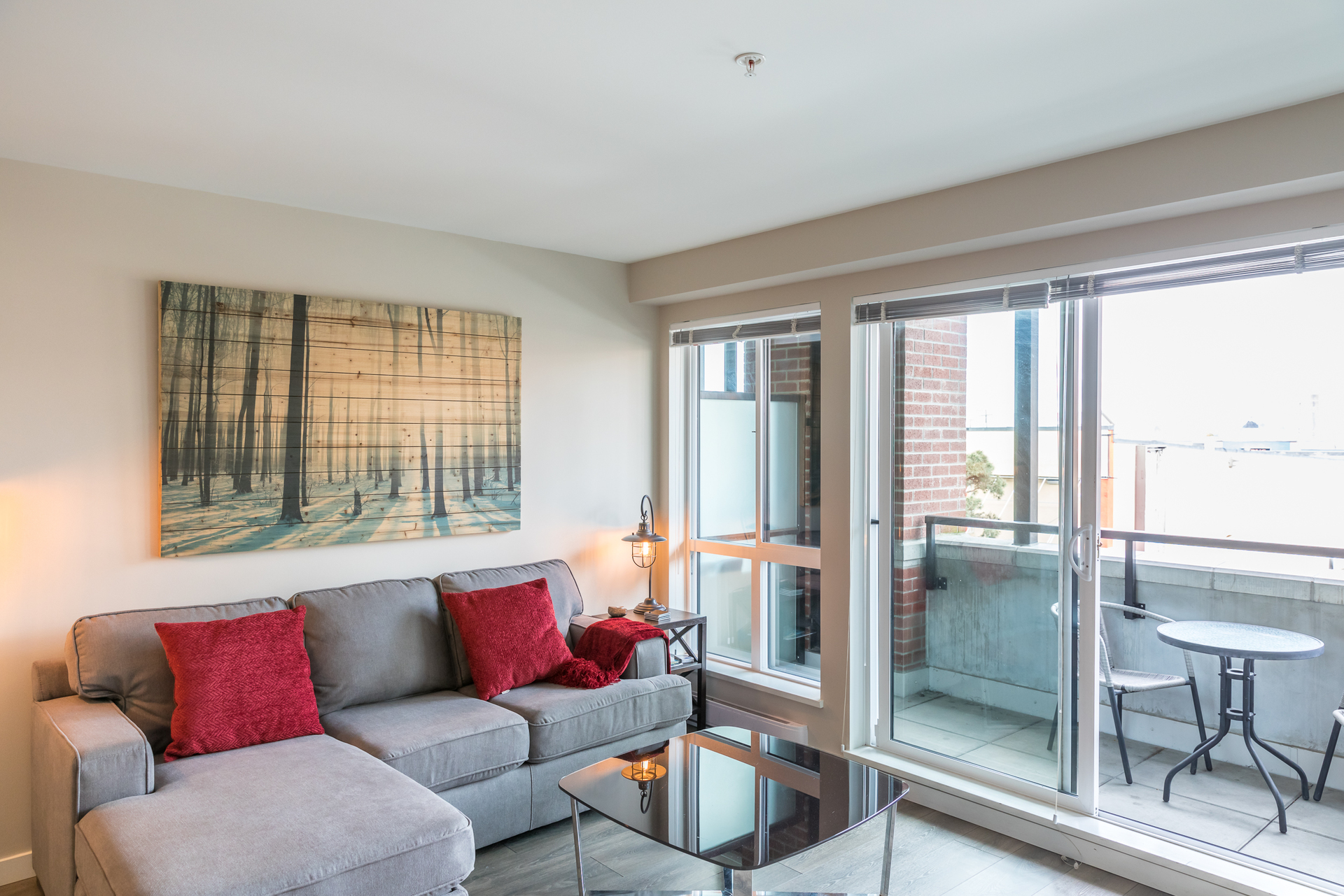 Living Room & Balcony at 201 - 517 Fisgard Street, Downtown, Victoria