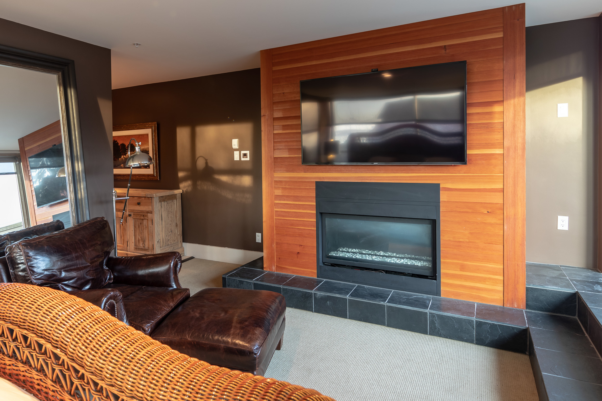 Master Bedroom Fireplace at 401 - 368 Main Street, Tofino Tofino, Vancouver Island