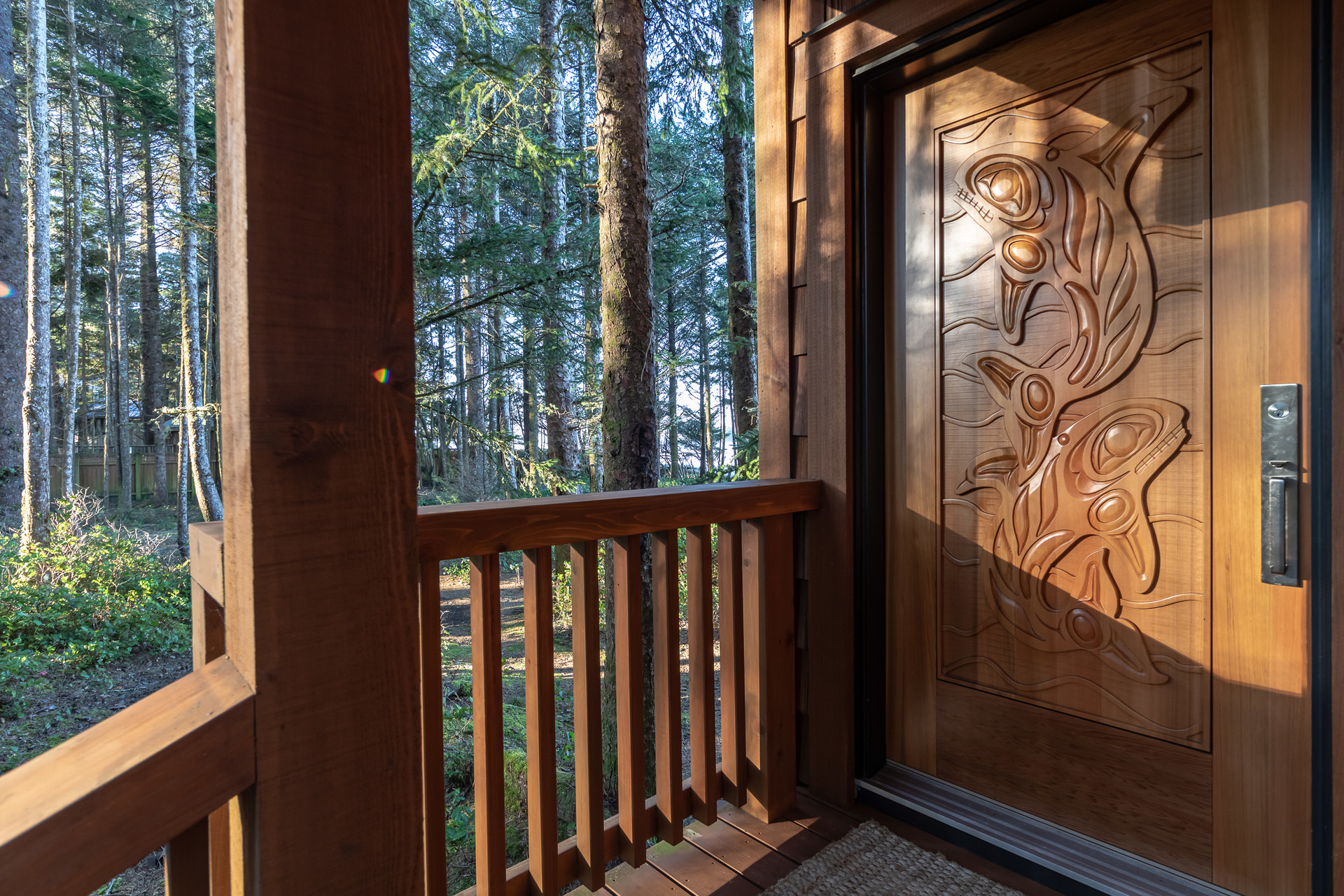 Custom Front Door at 1277 & 1281 Lynn Road, Tofino, Vancouver Island