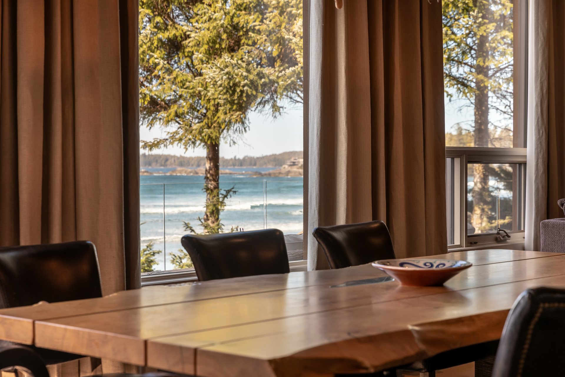 Beach Views From The Main Dining Area at 1277 & 1281 Lynn Road, Tofino, Vancouver Island
