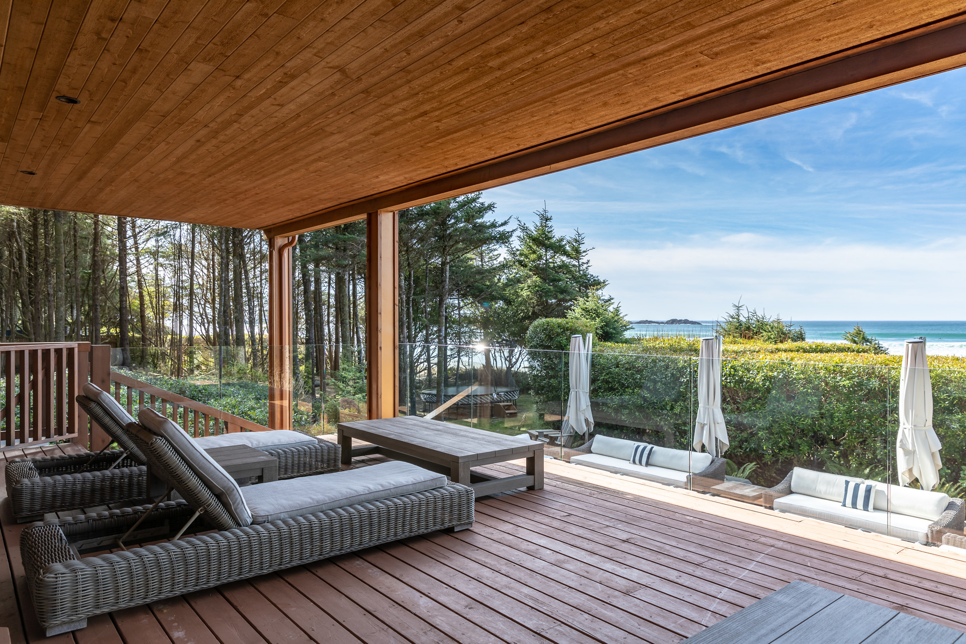 Main Residence Ground Floor Sundeck at 1277 & 1281 Lynn Road, Tofino, Vancouver Island