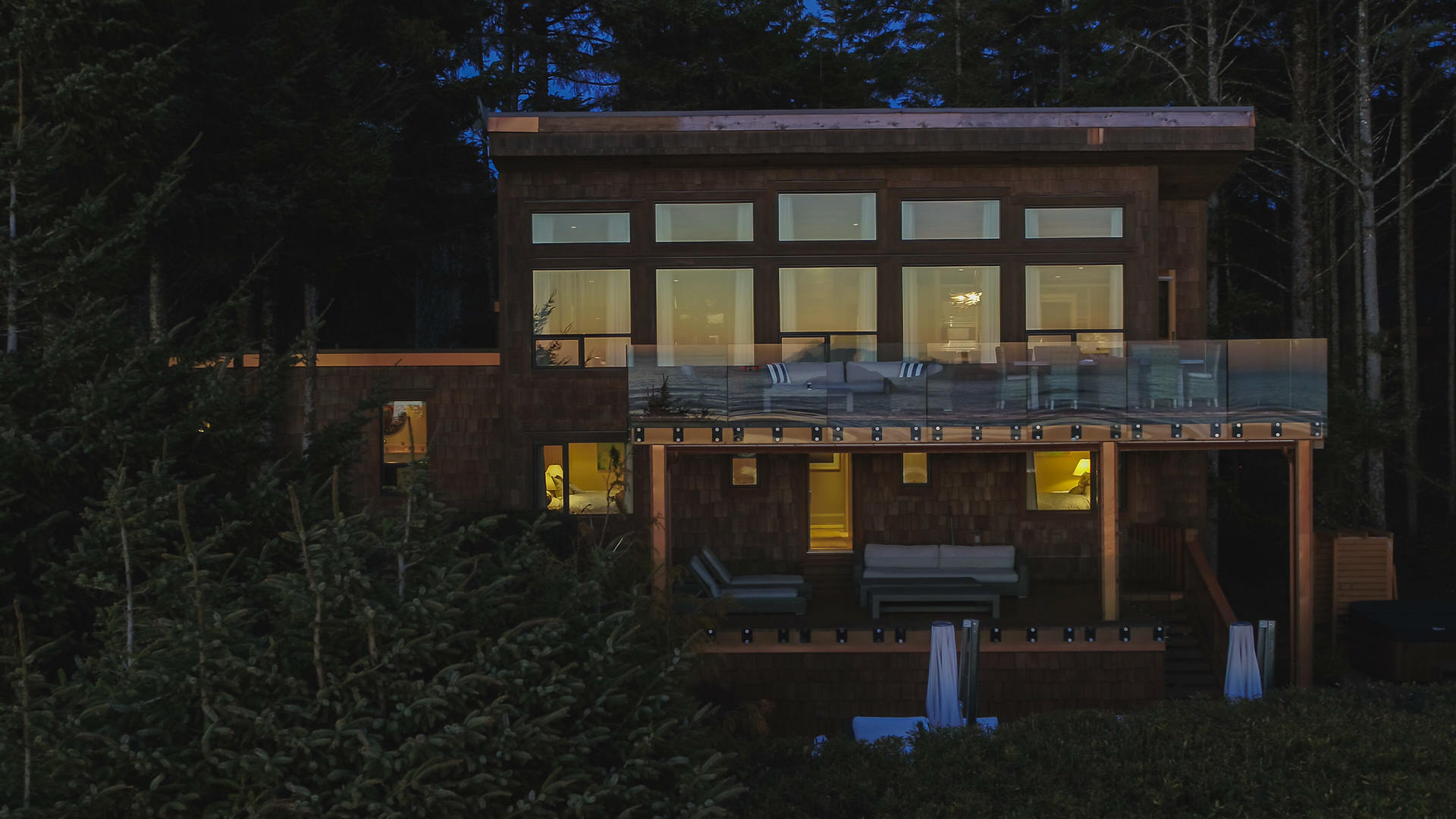 Night View Of The Main Residence at 1277 & 1281 Lynn Road, Tofino, Vancouver Island