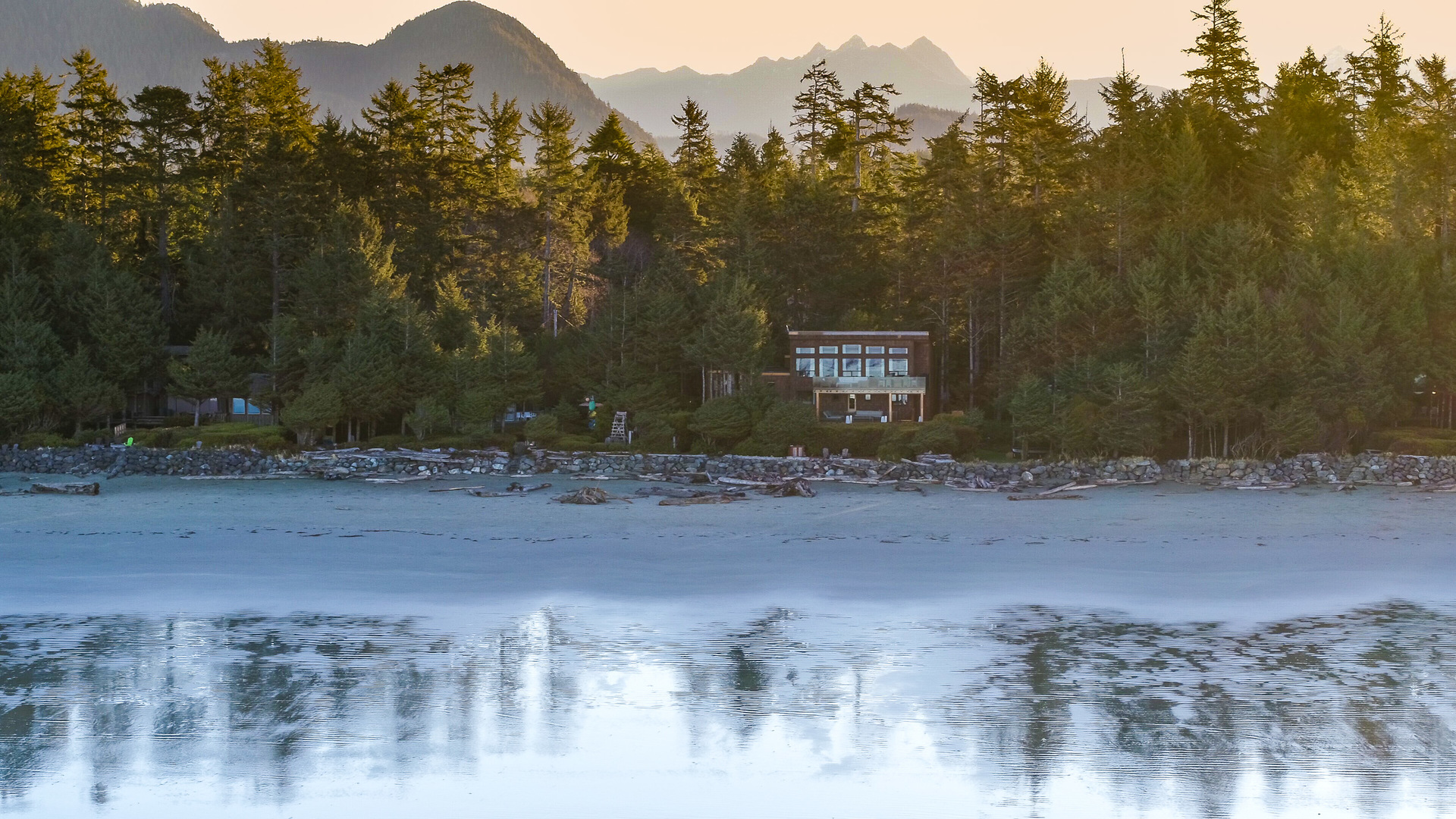 Main Residence Seen From The Water at 1277 & 1281 Lynn Road, Tofino Tofino, Vancouver Island