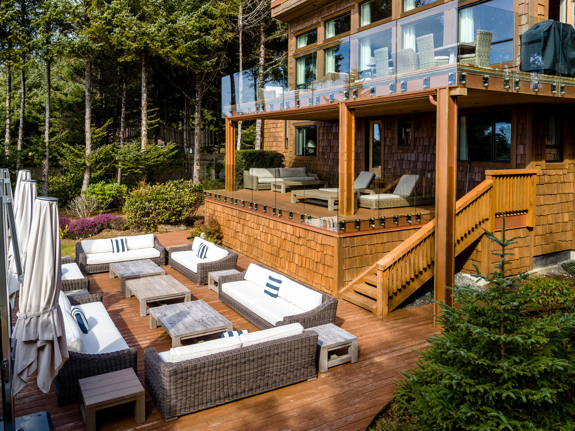 Main Residence Sundeck at 1277 & 1281 Lynn Road, Tofino, Vancouver Island