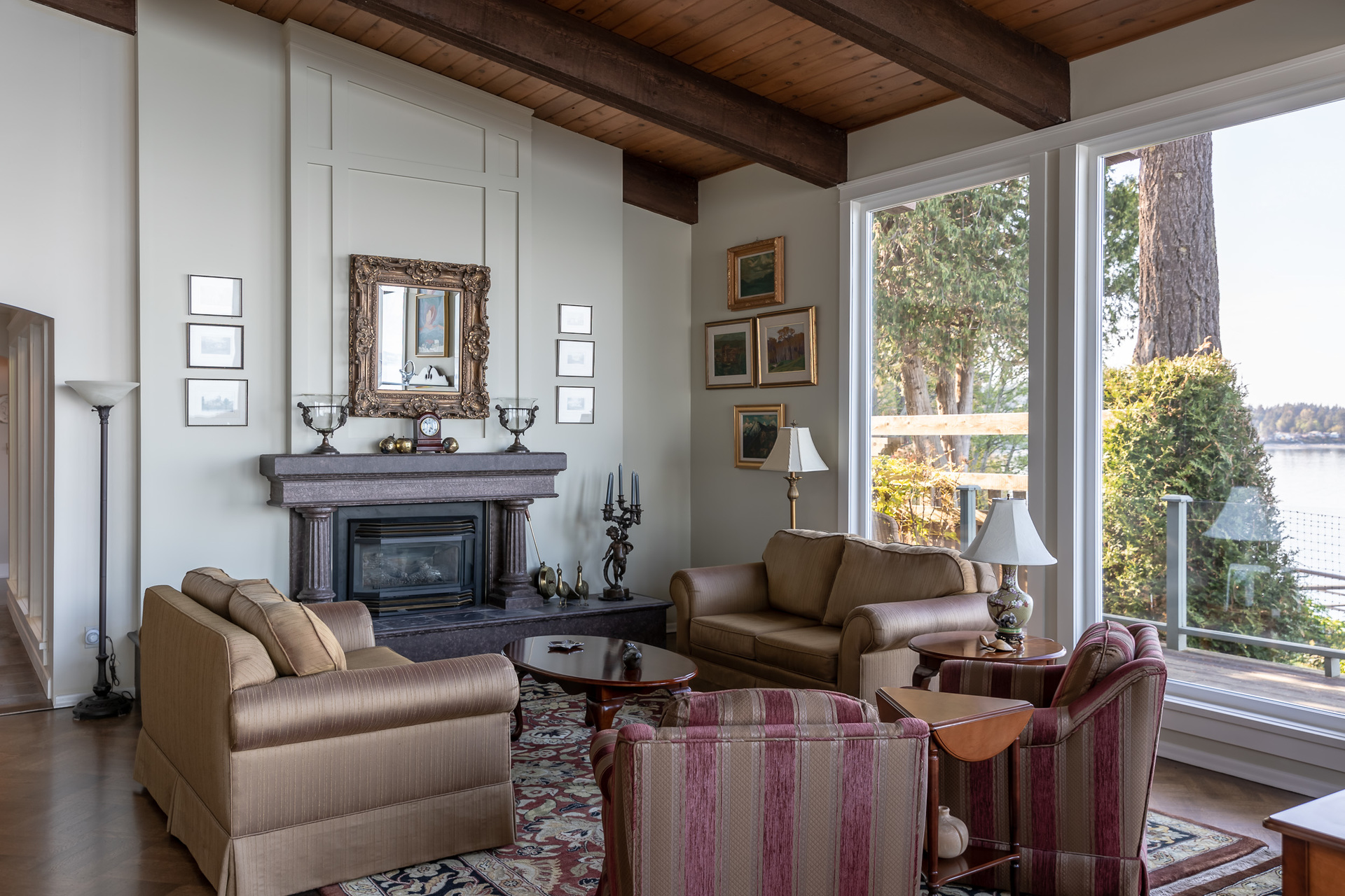 Main House Living Room at 4855 Major Road, Cordova Bay, Saanich East