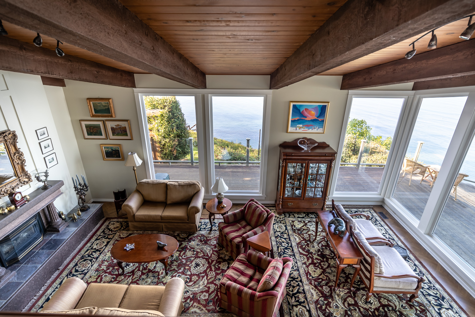Living Room From The Loft at 4855 Major Road, Cordova Bay, Saanich East