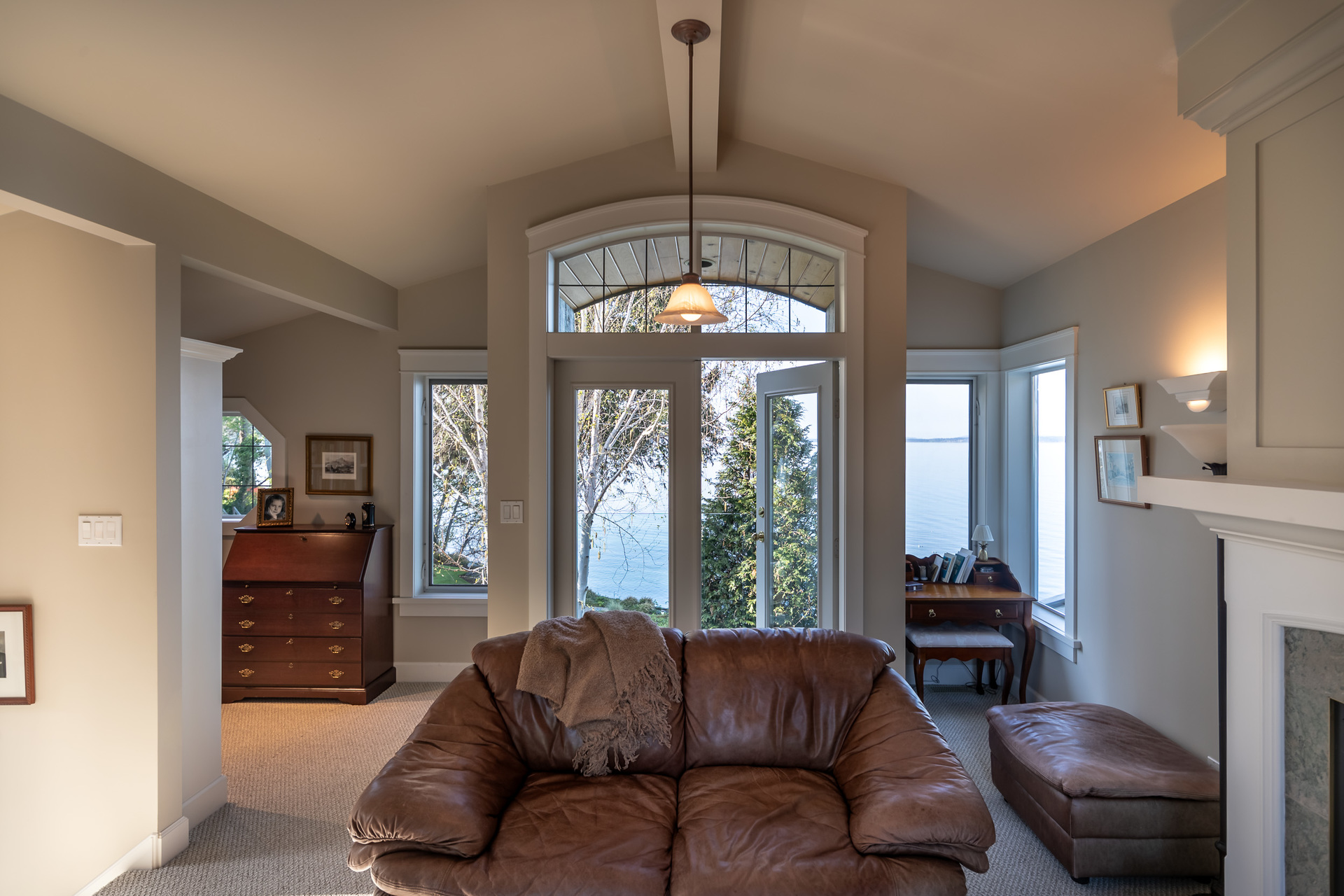 Main House Library With Balcony at 4855 Major Road, Cordova Bay, Saanich East